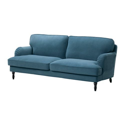 IKEA - STOCKSUND, Sofa, Ljungen blue, black, , You get extra soft comfort and support because the thick cushion has a core of pocket springs and a top of cut foam and polyester fibers.The core of pocket springs is durable and keeps its form and soft comfort for a longer time.The wider seat angle makes the sofa feel deeper and you sit more comfortably.The cover is easy to keep clean as it is removable and can be machine washed.10-year limited warrranty. Read about the terms in the limited…