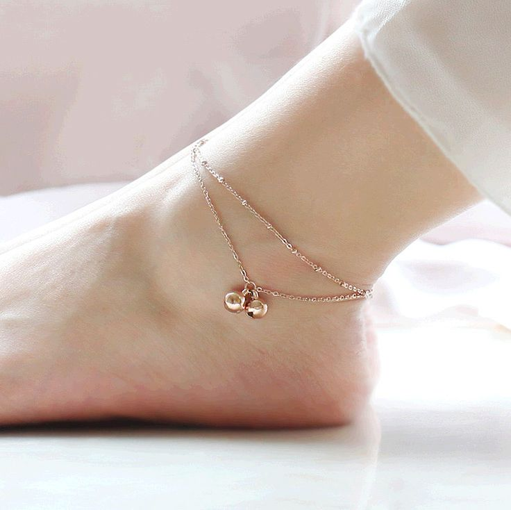 fashion Minimalist style double-fringed bell anklets rose gold plated rose gold titanium steel female Mosaic gold gift