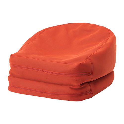 IKEA - BUSSAN, Beanbag, in/outdoor, orange, , You can use this beanbag in different ways. Fold it into an upright easy chair, or unfold it into a low lounger.The bean bag is approved for children. It has a child-proof zipper without a pull mechanism, which eliminates small parts and prevents children from opening it.The cover is easy to keep clean because it is removable and machine washable.