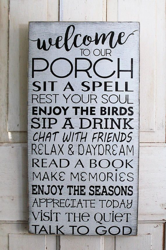 Porch Rules Sign Distressed Rustic Primitive Typography Subway Sign
