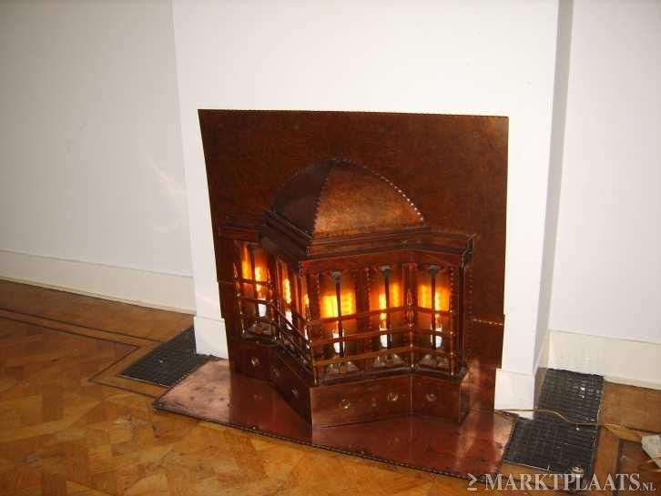 Art Deco koperen gaskachel / copper or brass gas stove ...