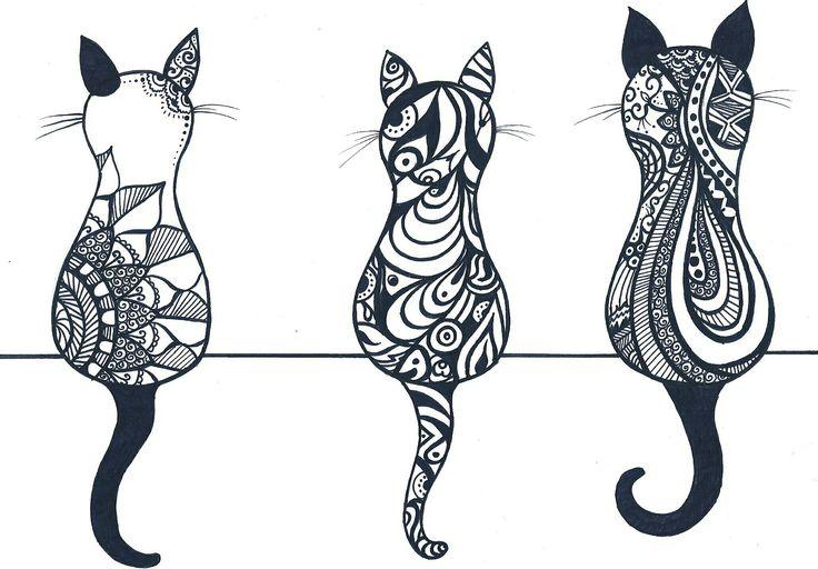 Cat mandala gatti disegno drew deatils detail dettagli figure silhouette