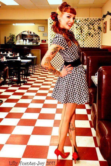 Rockabilly Girl #checkers #pinup #retro