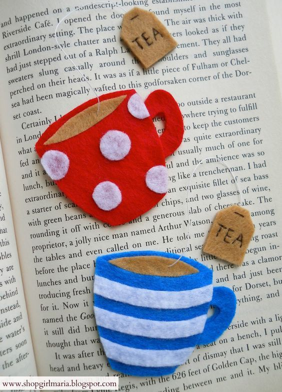 Felt teacup Bookmark | DIY | For Book | Marcador de Página: