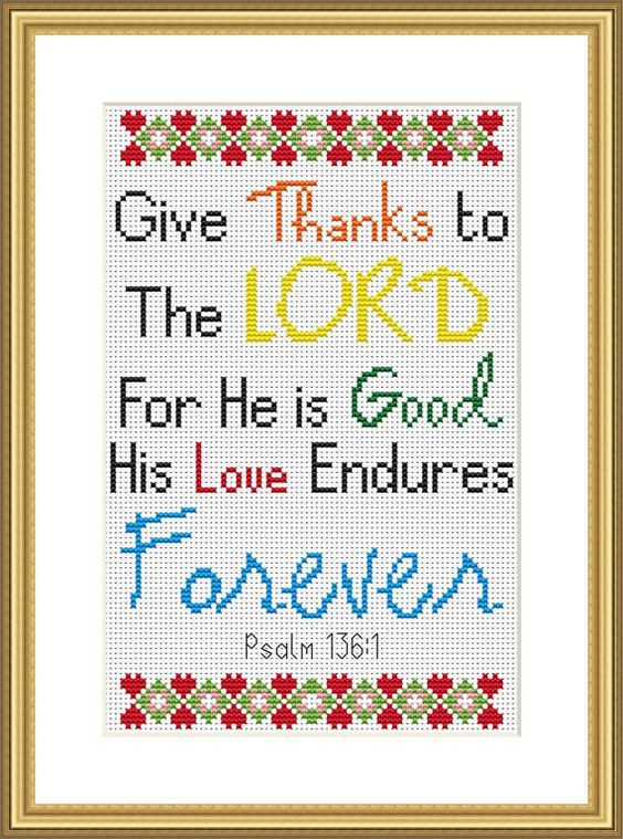 Bible Verse Cross Stitch Chart Psalm 136:1 by CraftedwithGodsLove