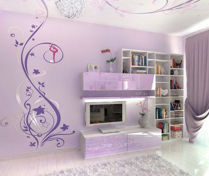 Abstract Murals In Purple Bedroom Design Girls Wall Bring Happiness