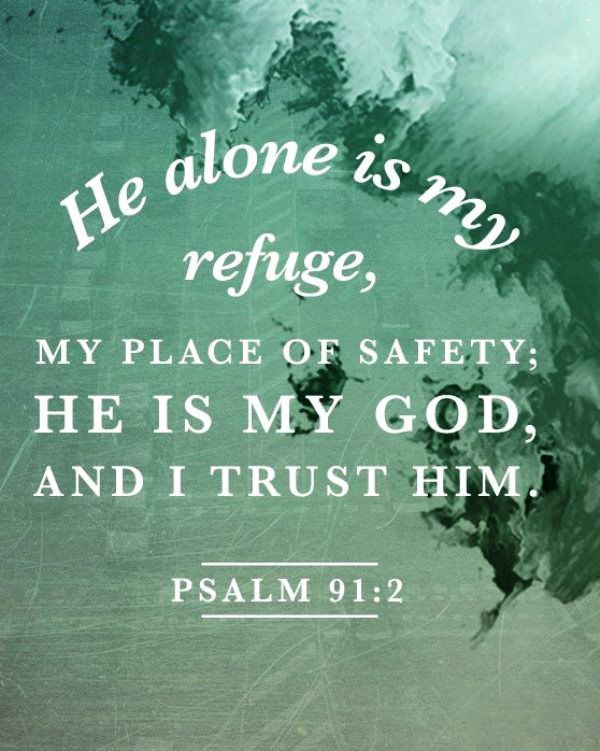 Psalm 91:2 (NIV) - This I declare about the LORD: He alone is my refuge, my place of safety; He is my God, and I trust Him. ""