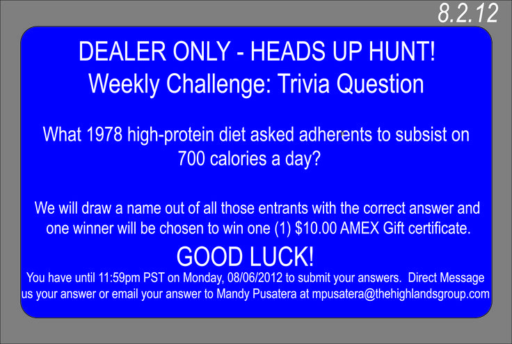 For your chance to win, make sure you submit those answers by next Monday!     Have a great day, everyone!    Somebody needs to stop Stacie! She is on a streak! ; p