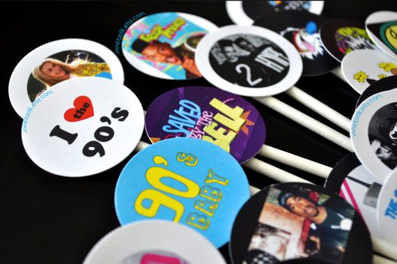 20 Totally Awesome 90s Cupcake Toppers 90s Theme by PINKTASTIK