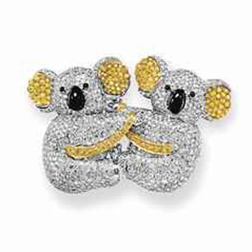 Yellow and white diamond koala brooch.