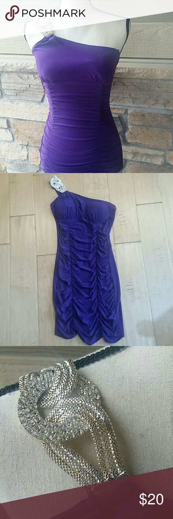 "Body Central Party Dress Make an entrance in this gorgeous, sexy, one-shoulder, royal purple fitted minidress by Body Central. Incredible sparkly hardware on shoulder. Worn only once. Excellent condition. 92% polyester, 8% spandex. 33.5"" from top of shoulder strap. Body Central Dresses Mini"