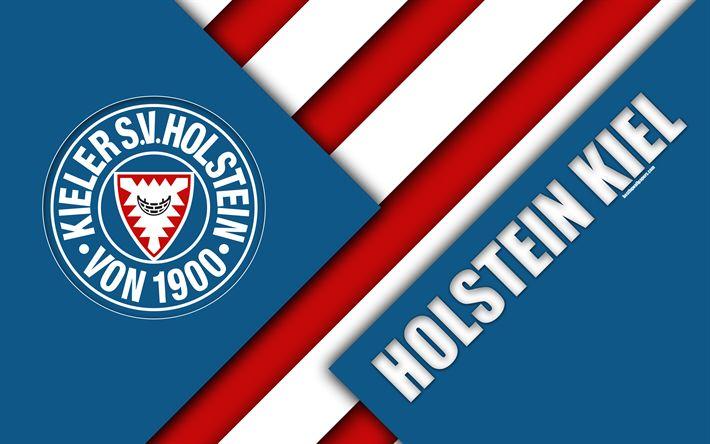 Download wallpapers Holstein Kiel FC, logo, 4k, German football club, material design, blue-red white abstraction, Kiel, Germany, Bundesliga 2, football