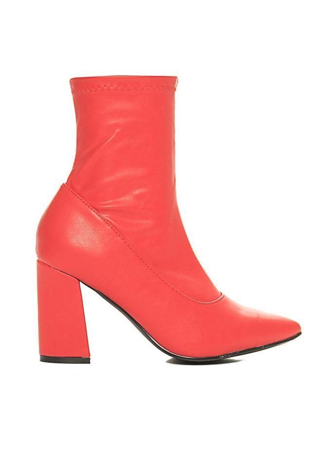 1050a56d022 Μποτάκια με Τακούνι 2051105-Κόκκινο | Μποτακια | Shoes, Boots και ...