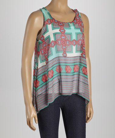 Another great find on #zulily! Mint & Coral Sidetail Tank - Women #zulilyfinds