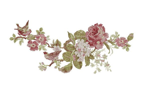 Roses, Birds, Flowers - Six designs - Machine Embroidery Design - Instant…