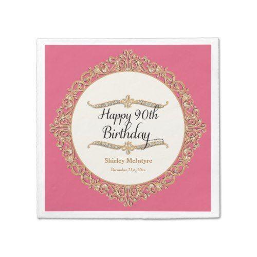 90th Happy Birthday Party Celebration Round Decor Napkin