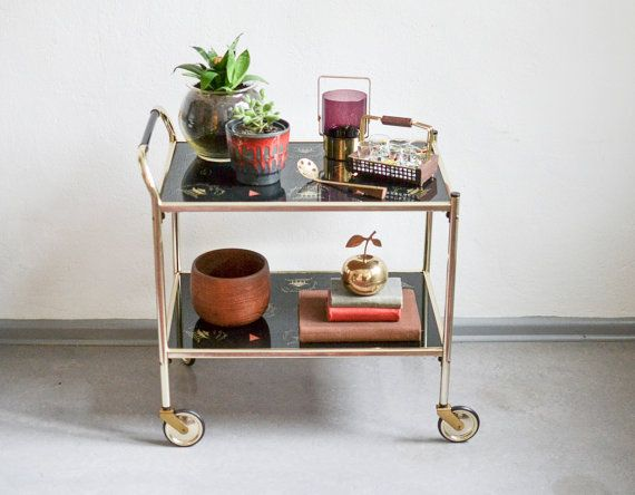 Vintage bar cart 60s brass bar cart Mid Century by MightyVintage