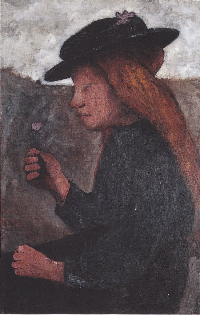 Paula Modersohn-Becker - Figurative Painting - German Expressionism - Seated girl with black hat and flower in her hand