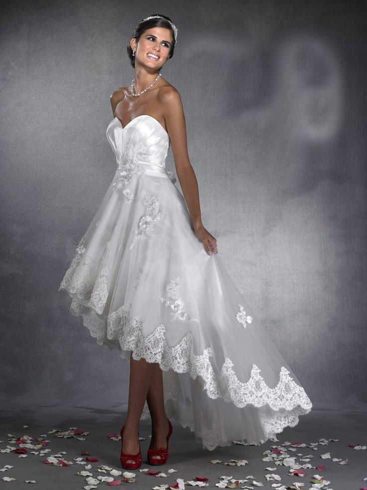 High low lace and satin wedding gown. sweetheart neckline. strapless. beautiful.