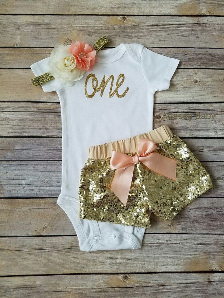 First Birthday Outfit Girl Peach And Gold Outfit Gold Sequin Shorts One Onsie 1st Birthday Outfit Cake Smash Outfit by Adassa Baby