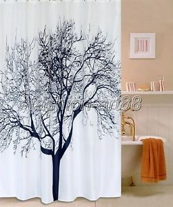 Art Deco Black Tree Picture Design Bathroom Fabric Shower Curtain Fs216 C