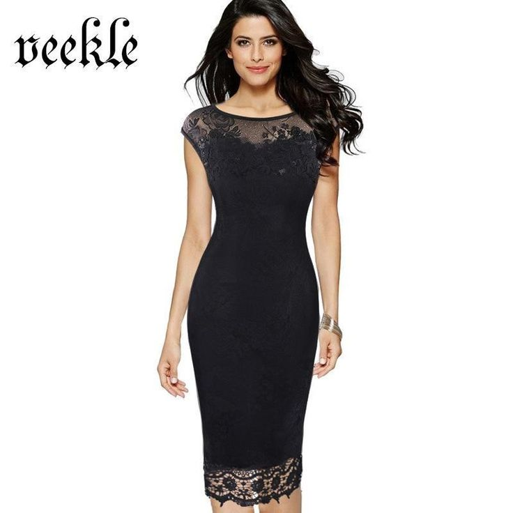Veekle Arrival 2017 Spring Summer Office Dresses Lace Bodycon Women Wear Wor