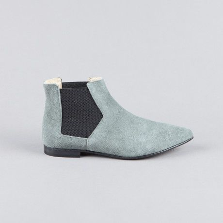 Ivylee Polly Low Ankle Boot - Petroleum Suede - Trouva