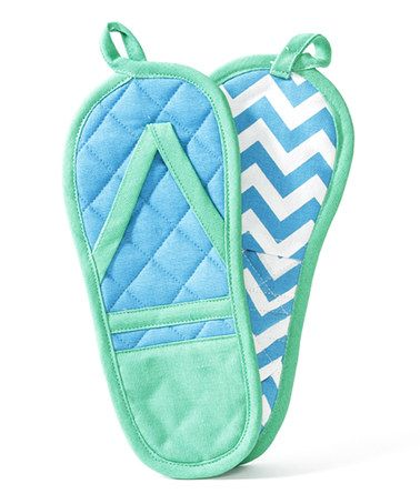 Another great find on #zulily! Blue & Green Flip-Flop Pot Holder - Set of Two by DEI #zulilyfinds