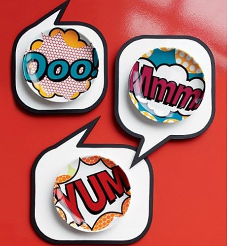 The plates and these placemats are genius - you could do this with sticky decals and hang them on the wall for a super popart kitchen!