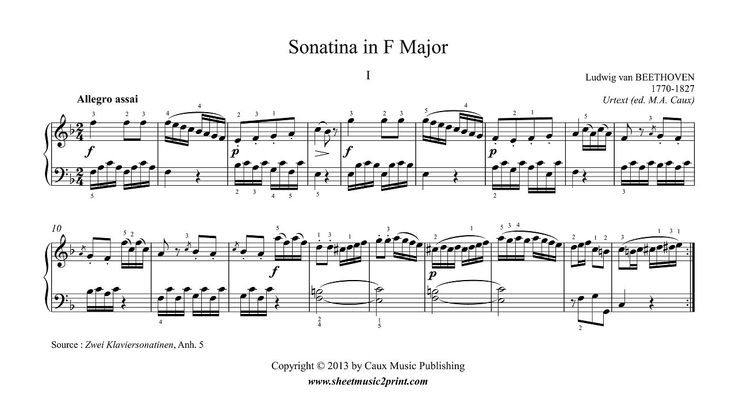 Beethoven : Sonatina in F Major, Anh. 5 (1/2) www.sheetmusic2print.com/Beethoven/Sonatina-F-Major.aspx