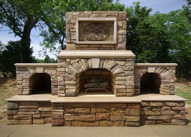 "36"" custom Contractor Series Outdoor Fireplace Kit with arched wood storage boxes."