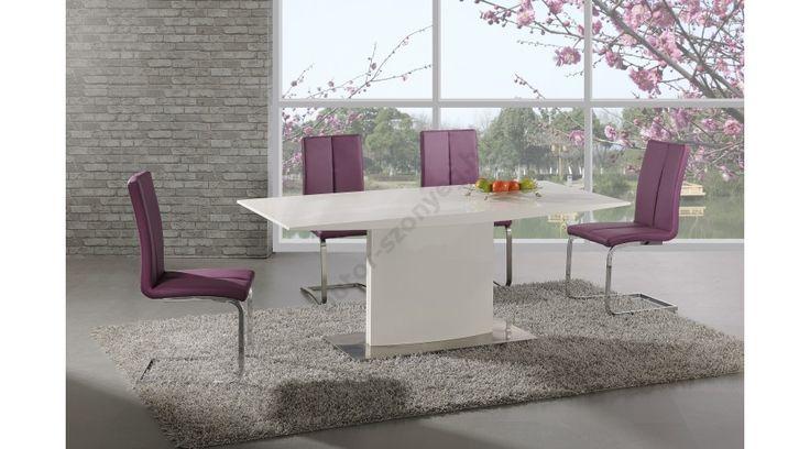 ELIAS - egy nagyon szép, letisztultdizájnnal készült, elegáns étkezőasztal, lakkozott MDF-ből, rozsdamentes acél vázzal. Az étkezőasztal mérete: 180/90/76 cm. Az asztal a fotón K143 székekkel látható, melyek nem tartoznak az asztalhoz,