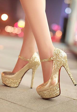 Price:$39.99 Color: Golden/Silver   Material: PU Sexy elegant mixing color sequin strap high-heeled shoes