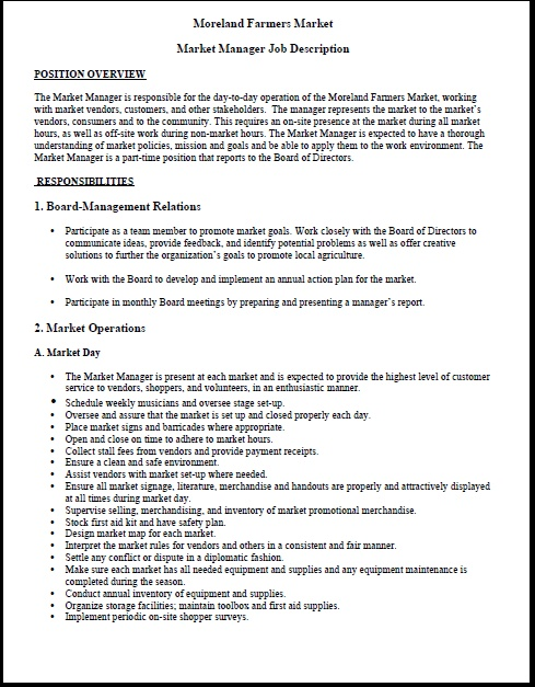 Farmers Market Manager Sample Resume Farmers Market Manager Sample