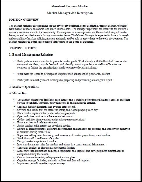 Moreland Farmers Market Market Manager Job Description http\/\/www - pharmacist job description