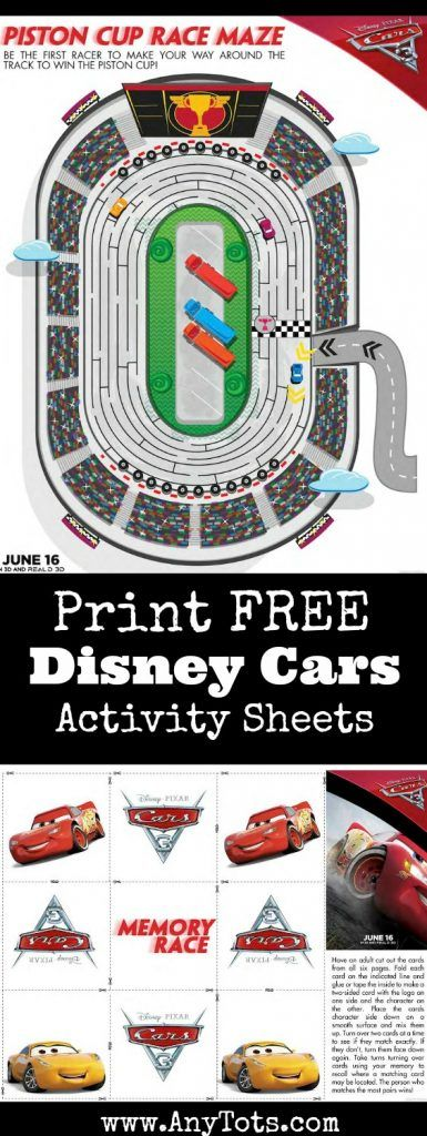 Disney Cars Free Printable Activity Sheets. Maze, Memory Game & Spot the Difference. Add to your Disney Cars Birthday Party or as a kids summer activity.
