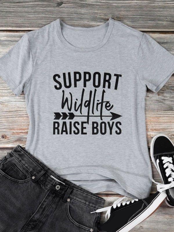 5cd8a69b8 Dresswel Women Support Wildlife Raise Boys Letter Print T-shirt Tops $12.99  #dresswel #women #fashion #t-shirt #letterprint