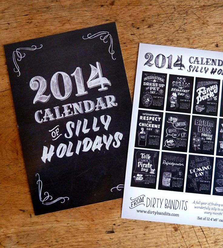 2014 Silly Holidays Calendar Postcards by Dirty Bandits on Scoutmob Shoppe. A humorous hand-lettered, illustrated calendar, reminding you of such important holidays as Fanny Pack Day and Ice Cream for Breakfast Day.
