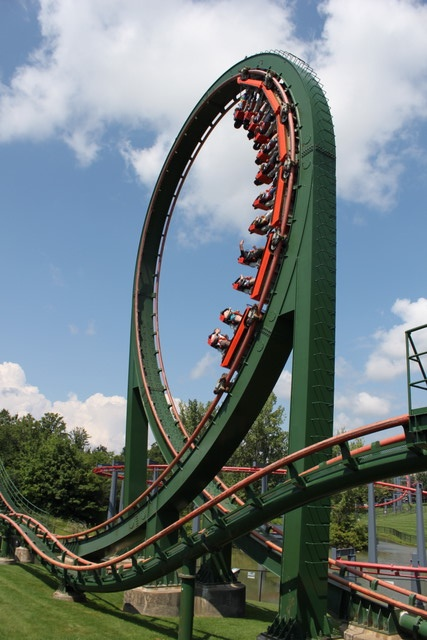 Skyrider stand-up rollercoaster at Canada's Wonderland, Toronto, Ontario -