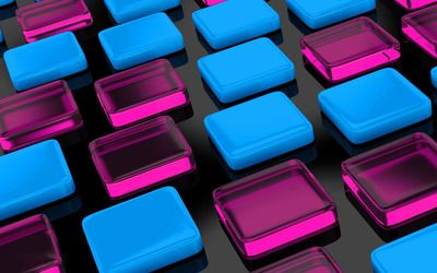Pink and blue cuboids wallpaper