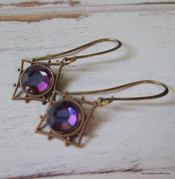 Purple Rhinestone Earring Purple Earring by SpiritSparkleWhimsy