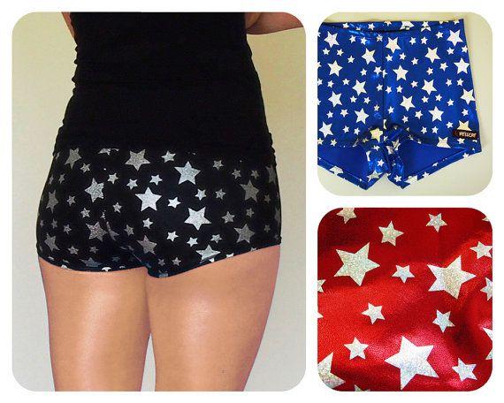 Shiny Star Print Roller Derby Shorts by HellcatClothing on Etsy, $35.00 Like I need more booty shorts!