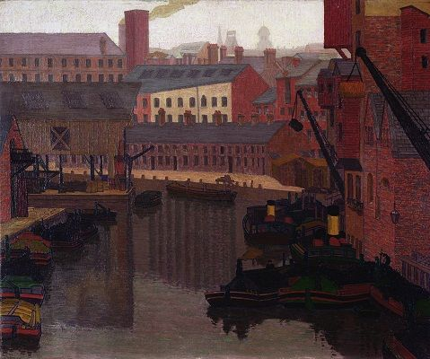 Charles Ginner (1878–1952)  Factories and Barges, Canal Basin from Crown Point Bridge, Leeds, 1916 oil on canvas  Photo credit: Bridgeman Art Library  © Private Collection