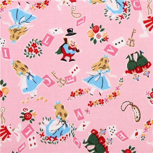 pink Kokka Alice in Wonderland tissu série contes de fées from Japan 1