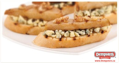 Grilled Crostini with Blue Cheese, Pears and Walnuts from www.Dempsters.ca