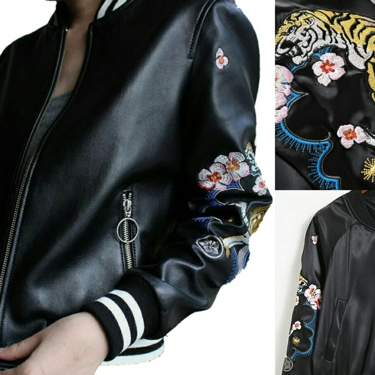 Embroidery tiger Lover bomber black leather jacket fashion 2017