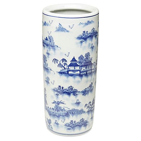 "18"" Chinoiserie Umbrella Stand, Blue Now: $60.00 							Was: $75.00"