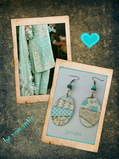 Handmade earrings made with paper - aqua and sand - unique and original - italian style