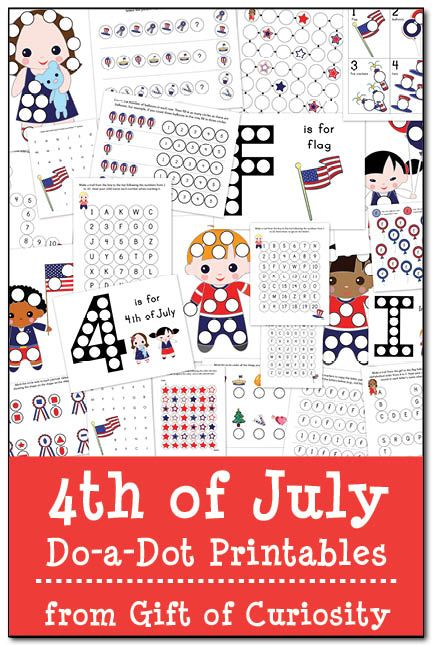 4th of July Do-a-Dot Printables: 24 pages of patriotic do-a-dot worksheets to help kids work on letters, numbers, shapes, colors, and more!
