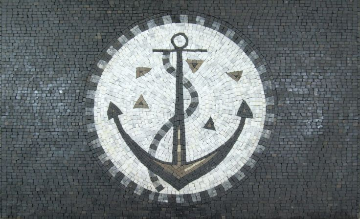 Anchor Black Backgroud Circle Marble Mosaic GEO1106 by MosaicMarbleLB on Etsy https://www.etsy.com/listing/239776543/anchor-black-backgroud-circle-marble